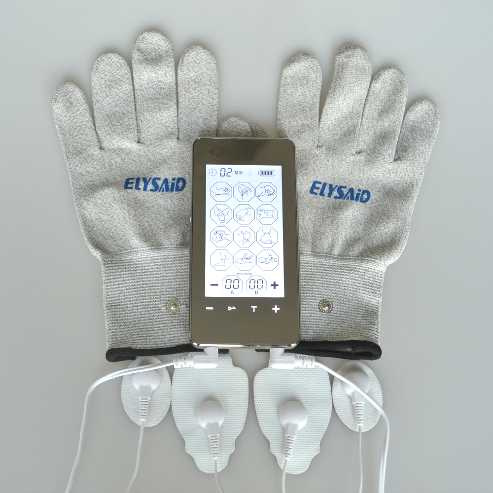Tens Electrotherapy Massager Touch Screen Smart Massage Device Body Health Care Muscle Stimulator With Conductive Fiber Gloves  <br>