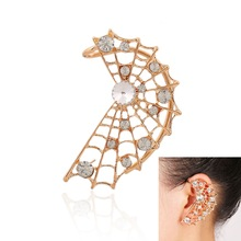 Hollow Cobweb Rhinestone Cuff Earrings for Women Punk Personality Ear Wrap Cuff Earrings Wholesale Fashion Jewelry 1pc Left Ear