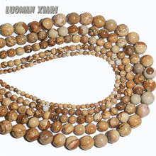 "Wholesale Natural Stone Beads Brown Round Picture Beads 4.6.8.10.12 mm Strand 15""/ DIY For Jewelry Making Bracelet Necklace"