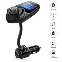 T10 Wireless In-Car Bluetooth FM Transmitter Radio Adapter Car Kit with 1.44 Inch Display USB Car Charger for iPhone Samsung