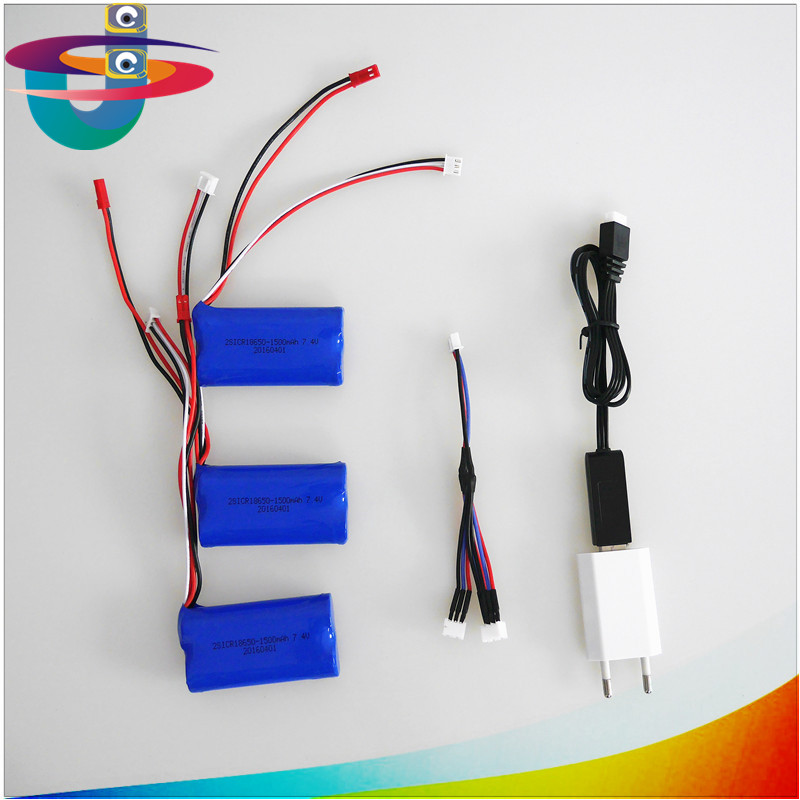 3pcs 7.4V 1500mah lithium battery and USB plug charger 3 in 1 cable for DH9053 9101 mjx f45 9118 rc Helicopter parts 18650<br>