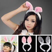 Newest Lovely Girls Rabbit Bunny Ears Headband women Tail Necktie Birthday Party Costume Prop Hairbands gift(China)