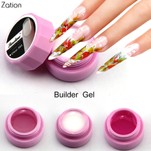 Zation Manicure Gel French Nail Art Polish UV Builder Gel False Crystal Gel Nail Tips Pink White Clear Varnish Extended Nail Gel