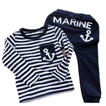 Vogue 2017 Spring/Autumn Kids Clothes Navy Long Sleeve Pullover Striped Children Sports Suit Casual Girls/Boys Clothing Set(China)