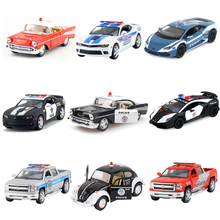 KINSMART Alloy Police Series Car Toy Diecast Metal Simulation Vehicles Pull Back Police Fire Fighter Cars Kids Toys Brinquedos