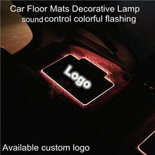 OCSION 4pcs Car Interior Floor Mats Atmosphere lamp Automotive LED Decorative Sound control Colorful flashing Light With Remote