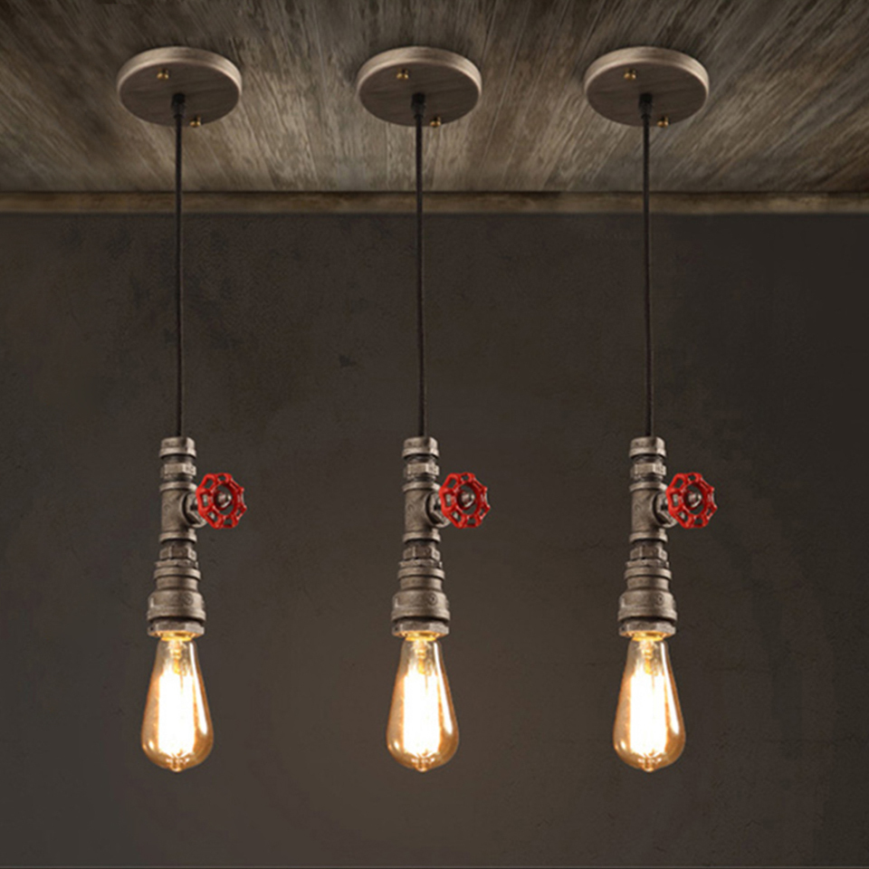 OYGROUP Vintage Water Pipe Pendant Lamp Loft E27 Industrial Cord Rope Lights Indoor Steam Pipe Lighting for Bar #OY17P21<br>