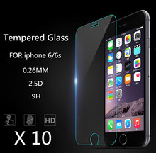 10 pcs/lot 2.5d 0.26 mm For Alppe iPhone 4 4s 5 5s 5c 6 6s 7 6 PLUS Premium Tempered Glass Screen Protector clear tpu phone case