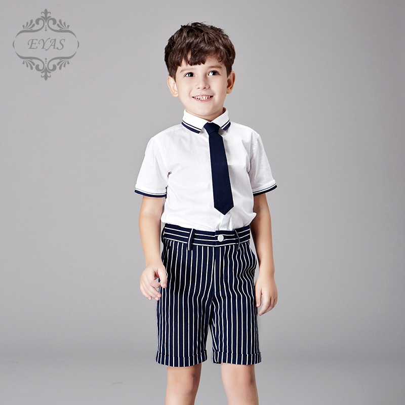 2016 Eyas Boy Clothes Summer White and Purplish Blue Clothing Set 3-pc With Shorts, Short Sleeve Shirt,  Tie 95% cotton K6224<br>