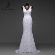 Low Price sexy V_neck and very beautiful sexy backless mermaid Wedding Dresses vestidos de noiva robe de mariage bridal dress(China)