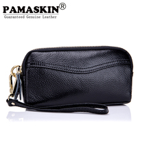 PAMASKIN Luxurious 100% Genuine Leather Cowhide Double Zippered Carteira Masculina Women Organizer Wallets Female Purses 2017(China)