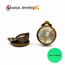 World Map Clip Earrings S&Y 2017 New Vintage Gold Color Glass Jewelry Earrings For Women Glow In Dark Clip On Earrings For Women