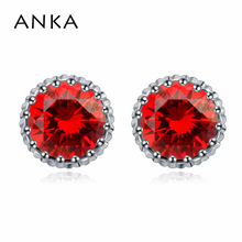 ANKA brand classics zircon round shape stud earrings for women design small cute rhodium plated earrings fashion jewelry 109930