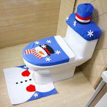 2017 New Blue Santa Claus Toilet Seat Cover Snowman Rug Bathroom Set Christmas Decorations For Home