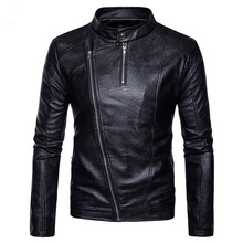 Buy Motorcycle Leather Jacket 2017 Fashion Oblique Zipper Stand Collar Men's Winter PU Leather Jacket Coat Casual Men Leather Jacket for $78.98 in AliExpress store