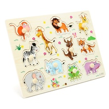 Cartoon Cute Animal Tiger Giraffe Wooden Jigsaw Puzzles Toy Children Kids Baby Early Study Education Gift Children Lovely Toy(China)