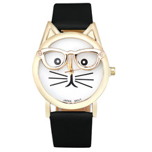 2017 Women Clock Cute Glasses Cat Quarts Watch Brand Lovers Women Watches Women Leopard Lrint Leather Casual Watch Relojes(China)