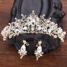 Vintage Princess Diadem Clear Crystal Beauty Queen Crown Beads Wedding Rhinestone Prom Pageant Tiara For Bride Hair Accessories