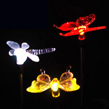 Oobest Colorful Decoration LED Solar Light Dragonfly/Butterfly/Bird Type Solar Powered Lamp LED Path Light Garden Lawn Outdoor