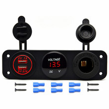 Triple Function Dual USB Charger + LED Digital Voltmeter + 12V Outlet Power Socket Panel For Car Boat Marine Digital Devices(China)