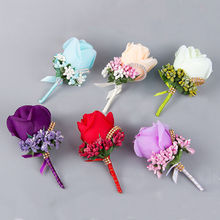 1PCS Ivory Red Best Man corsage for Groom groomsman silk rose flower Wedding suit Boutonnieres accessories pin brooch decoration