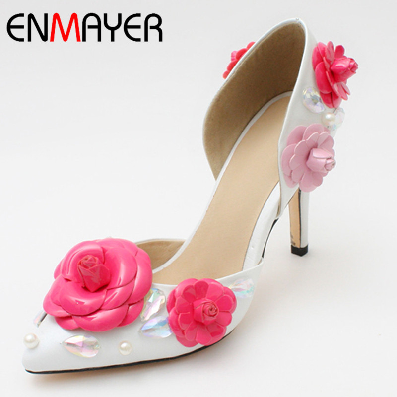 ENMAYER Fashion Women Summer Pumps Shoes Thin Heel Pointed Toe Pumps Flowers White Party Pumps Summer Shoes New Style Pumps<br><br>Aliexpress