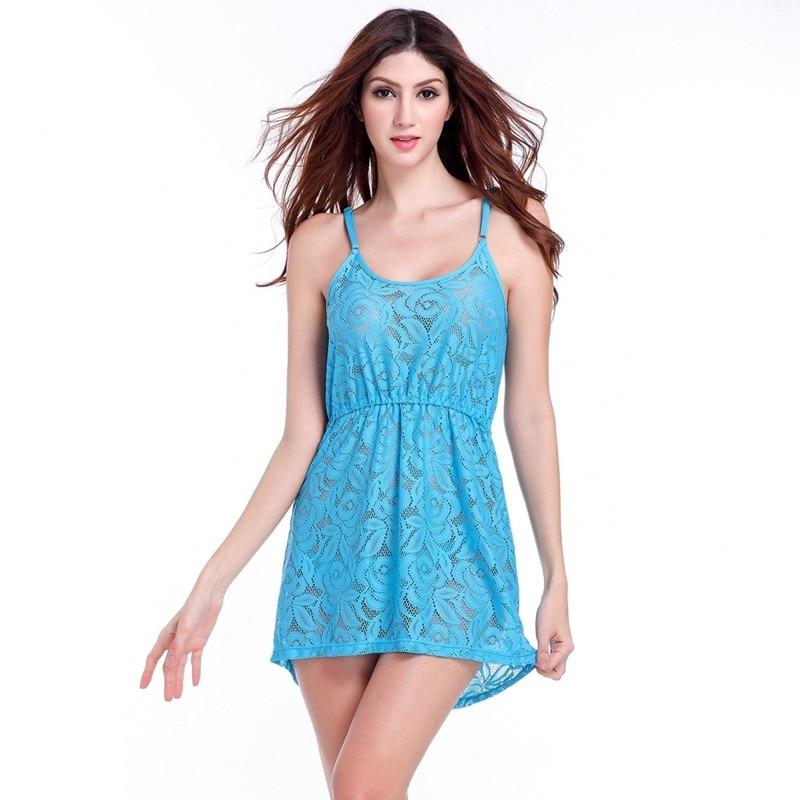 17 Adjustable Spaghetti Dress Tunic for Beach Slim Fit Waist Wrinkle Cover-Ups Sexy Women Plus Size Lace Tunic Beach Dress 8