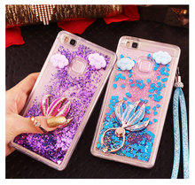 For Huawei P9 Lite Ring Case Huawei P9 Dynamic Liquid Glitter Star Heart Quicksand Phone Case With diamond Strap