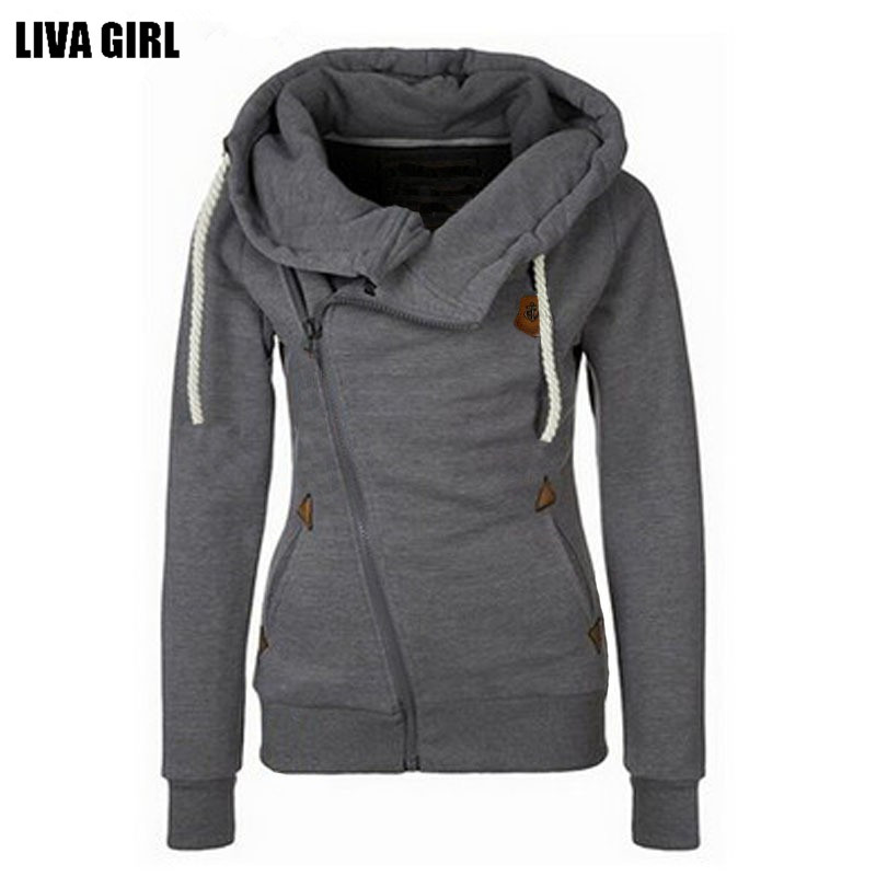 Winter Autumn Women Hoodies Sweatshirts Long Sleeve Hooded Jacket Warm Inclined Zipper Design Sweatshirt Women Sudaderas(China)