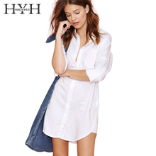 HYH HAOYIHUI Solid White Women Blouse Single Breasted Patchwork Stand Collar Shirts Pocket Half Sleeve Brief Casual Blouse(China)