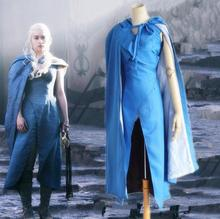Game of Thrones Daenerys Targaryen Cosplay Costumes A Song Of Ice And Fire Dany Blue Dress And Cloak Halloween Costumes