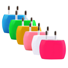 Colorful EU Plug 2A Dual USB Ports Home Wall Travel AC Power Charger Adapter for iPhone 6 6S For Samsung IOS Android Smartphone