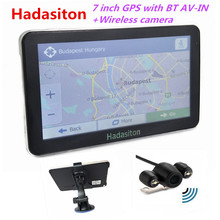 Reverse Parking system,7 inch Car GPS Navigation Sat Nav with Bluetooth AV-IN FM + Wireless rearview camera+Free latest Maps(China)