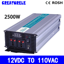 P2500-121 high quality powerr inverter 2500w Pure Sine Wave 12v to 110vac voltage converter,solar inverter LED Display(China)