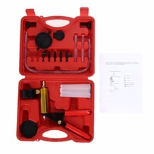 Car Motorcycle Cylinder Diagnostic Tools Kit Car Automobiles Vacuum Pump Tester Suction Gun Brake Bleeder Adaptors Kit with Case(China)