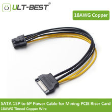 ULT-Best 20CM SATA Mining Riser Power Cable Serial ATA 15pin to 6 Pin PCI-E PCIE Express Graphics Converter Adapter Cables