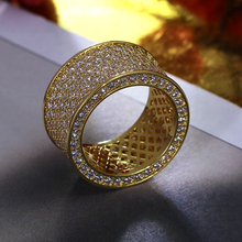 2017 Circle ring cz Finger Ring Gold /Rhodium Plated With Cubic Zircon Wide Ring Fashion Jewelry Wholesale ring gold jewelry(China)