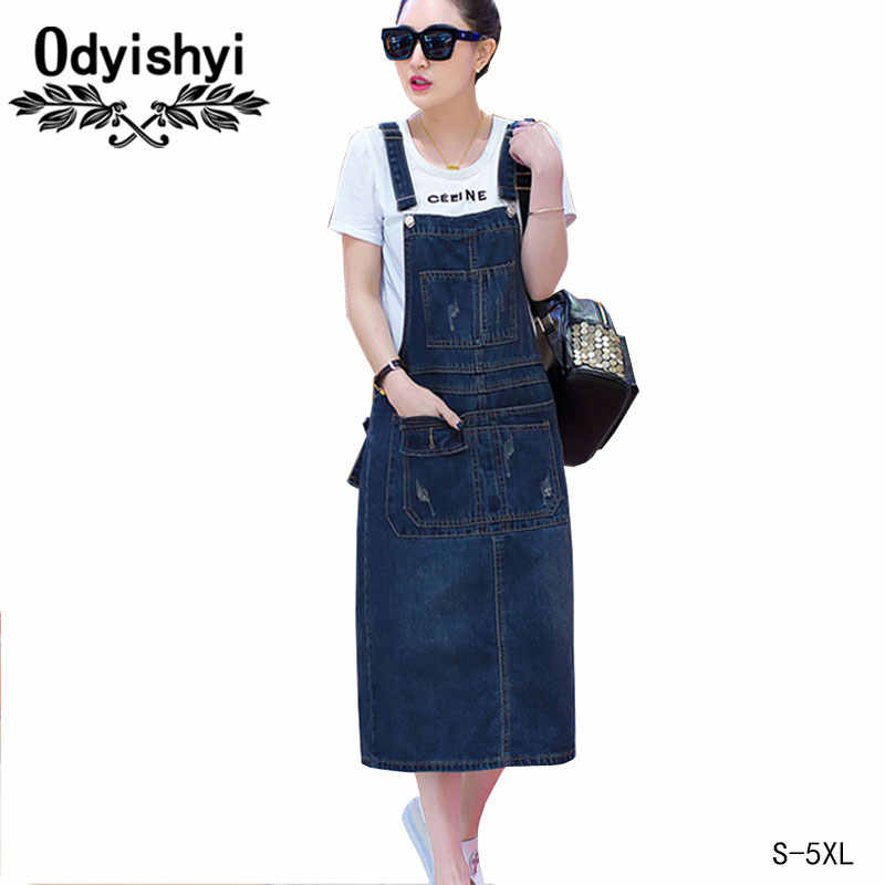 Vestido Long Dress Denim 2018 Women Summer Plus Size Loose Sarafan Strap Jeans  Dresses Sundress Denim 2cda6a896078