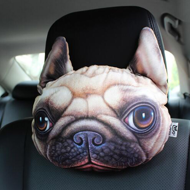 Cool 3D Printed Dog/Cat Face Car Neck Head Rest Pillow With Activated Carbon Pack for Air Fresh(China (Mainland))
