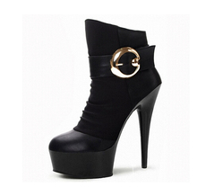 15cm ankle boots women fashion short boot winter footwear 6 inch high heel shoes sexy snow Exotic Dancer shoes(China)