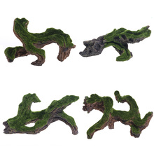 New Fish Tank Aquarium Ornament Decoration Resin Artificial Green Driftwood Tree Landscaping With Moss Pet Climbing Rockery