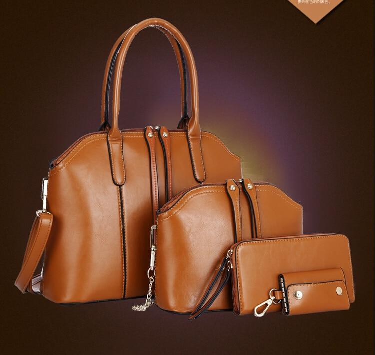 Unique Handbags Womens Messenger Bags Ladies Fashion Designs Bags Girl Handbag+Messenger Bag+Clutch+Card Key Clip 4PCS H114<br><br>Aliexpress