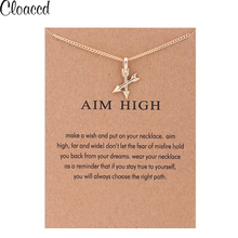 Cloaccd New Fashion Arrows Pendant Necklace for Women Gold Color Long Chain Necklace Christmas Birthday Gifts With Card