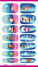 Holiday Christmas Nail Sticker Elk With Santa Claus Design Minx Water Transfer Foils Nail Sticker Decals Nail Tools(China)