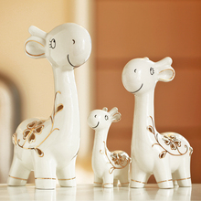 White Porcelain Happy Giraffe Family Ceramic Animal Figurines Furnishing Articles Modern Home Decoration Accessories(China)