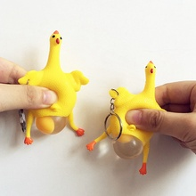 Funny Prank Chicken Novelty Antistress Chick Lay Eggs Chicken Keychain Children Toys Gags Practical Joke Interesting Toys(China)