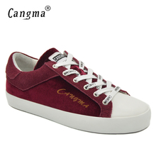 CANGMA Brand Sneakers Shoes Woman Wine Red Cow Suede Female Breathable Footwear Genuine Leather Flats Womens Leisure Shoes