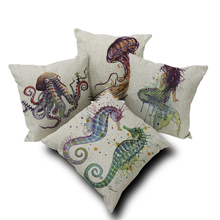 Nordic Style 45*45CM Marine Biology Cushions Cover Octopus Jellyfish Hippocampus Mermaid Pillow Case Linen Cotton Pillows Covers