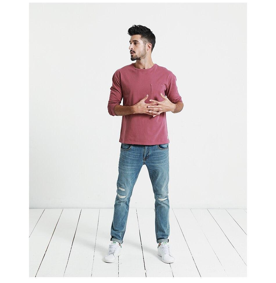 SIMWOOD 2018 Automne À Manches Longues T-shirt Hommes 100% Pur Coton Slim Fit Drôle de Mode De Poche Tops Haute Qualité TC017004 20