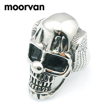 Moorvan circus big nose clown ring skull for men,polishing stainless steel rings wholesale free shipping VR420